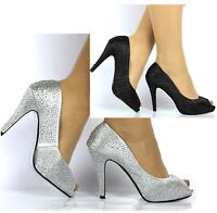 WOMENS LADIES PLATFORM HIGH HEEL EVENING PROM PEEP TOE COURT SHOES SANDALS SIZE