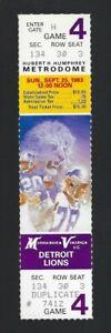 VINTAGE 1983 NFL DETROIT LIONS @ MINNESOTA VIKINGS FULL UNUSED FOOTBALL TICKET