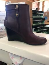 Isaac Mizrahi Live! Leather Wedge Ankle Boots w/ Gold Buckle Dark Red Leather 7W