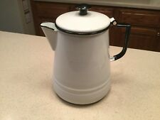"Vintage Enamelware Coffe Pot Hinged 10.25"" Tall White Black Trim Very Nice Cond."