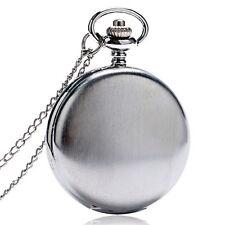 Fashion Silver Necklace Luxury Smooth Quartz Pocket Watch Men Women Pendant Xmas