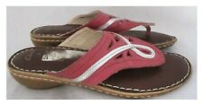 """CLARKS PINK/SILVER THONG TOED SLIP ON LEATHER MULES  1.5"""" WEDGES SIZE 6 UK 39 EU"""