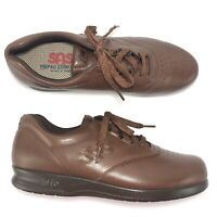 SAS Free Time Shoes 8.5S Brown Leather Lace Up Tripad Comfort Diabetic Walking