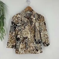 Zenergy Chico's Jacket Womens Size 0 S Brown Tan Blazer Button Front Stretch