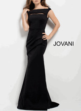 Jovani NWT Dress Black Bateau Neck Fitted Ruched Bodice Long Formal Gown Size 4