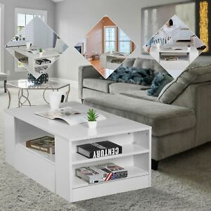 Modern High Gloss Living Room Coffee Tea Table Solid Wood with  Storage Shelf