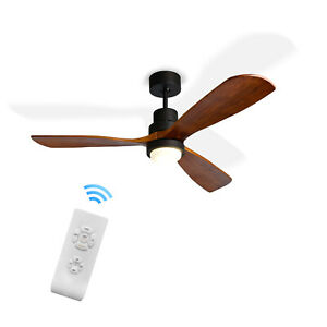 52'' Brown Ceiling Fan with LED Light Kit, 3 Wood Blades and Remote Control