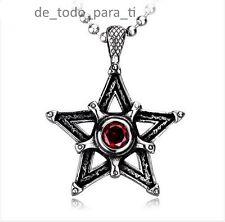 COLGANTE ACERO FORMA DE ESTRELLA CON PIEDRA ROJA. CON CADENA DE BOLAS 60 CM.