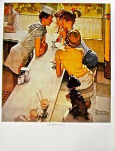 Norman Rockwell THE SODA JERK  Offset Lithograph Unsigned 14x11