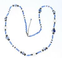 PENDANT NECKLACE beautiful beads in blue tones