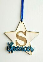 Personalised Wooden Initial Star Name Kids Room Wall Door Decor Plaque Gift