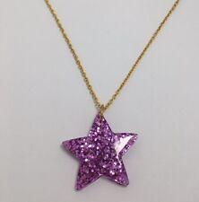 STELLA Viola GRANDE GLITTER CHARMS Collana D204 Glitter ciondolo catena d'oro rosa