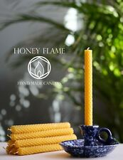 8 x 100% PURE BEESWAX candles ~ 20cm x 1.5cm ~ Eco-Friendly