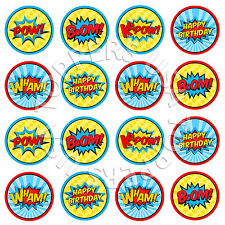 16x EDIBLE Super Hero Comic Words Party Cupcake Toppers Wafer Paper 4cm (uncut)