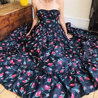 Gorgeous 80' Vintage Laura Ashley 100% Cotton Dress Maxi Uk 10 8 Floral BallGown