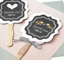 144 Personalized Chalkboard Vintage Classic Paddle Hand Fan Bridal Wedding Favor