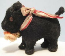 Old Toy Scotty Dog Wind Up chewing on Sock - bell & glass eyes - Japan - + key
