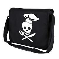 Chef Skull Totenkopf BBQ Fun Schwarz Motiv Spaß Umhängetasche Messenger Bag