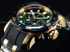 "RARE "" Hunter Green "" Men's Invicta Scuba Swiss Chronograph 18K Gold IP Watch"