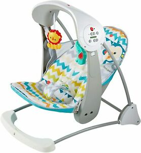Fisher-Price Colourful Carnival Take-Along 2-in-1 Swing & Seat Baby Bouncer -NEW