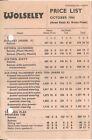 Wolseley Price List 1964 Hornet 1500 16/60 6/110 Vanden Plas Princess Hole Punch
