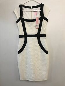 Lipsy London White Wiggle Stretch Dress Black Detail Size 10 Bnwt Rrp $110