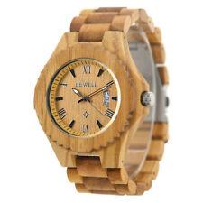 Real Tussah Yamaki Wood Wrist Watch Date Big 46mm Japan Miyota Citizen Mvmt