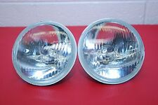 "H4 6 VOLT Headlights PAIR 5 3/4"""" Round 143mm Sealed Beam Conversion Kit E-Code"