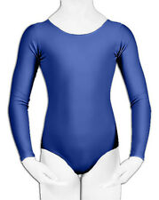 Childrens Girls Leotard Gymnastic Dance Ballet Long Sleeve Shiny Microfiber 3-14