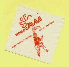 WORLD JAI-ALAI - PAPER BAR NAPKIN - MIAMI TAMPA FT. PIERCE OCALA HARTFORD