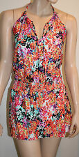 Kenneth Cole Size Large Multi Floral Smocked Waist Swimsuit Cover Up Tunic $72