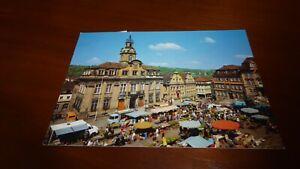 Postkarte Schwäbisch Hall Rathaus mit Marktplatz