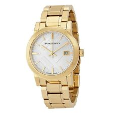 NEW BURBERRY BU9103 LADIES GOLD CHECK DIAL WATCH - 2 YEARS WARRANTY