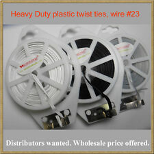 52b535cfeb18 Heavy Duty - 65ft (20m) White Flat Plastic Twist Tie roll with cutter -