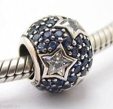 FOLLOWING BLUE STARS Charm Bead Sterling Silver .925 Fits European Bracelets 993