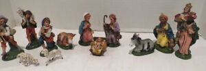 """Set of 13 Italy Nativity Figures - Molded Plastic Creche Numbered 4"""" - VTG -EUC"""