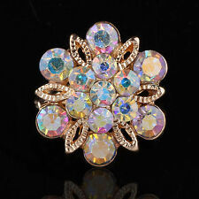 Rhinestone Crystal Brooch Pin Jewelry Gift One Party Bridal Bouquet Gold Flower