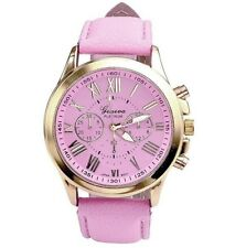 Womens Geneva Platinum Rose Gold Watch Roman Numerals Pink Faux Leather Strap