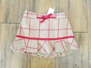 BABY GAP Plaid Ruffled Wool Blend Holiday Skirt TODDLER GIRLS 12-18 MOS NWT Red