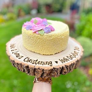 Personalised Cake Stand / Wedding Birthday Christening / Thick Log Slice 2 Sizes