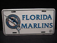 "Vintage 90's Official MLB Florida Marlins Metal 6"" x 12"" Licence Plate"