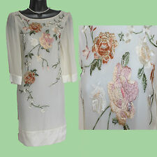 MONSOON Ivory HARDY Silk Embroidered Short Sleeve Wedding Dress 8 EU36 £160
