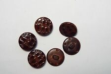 6pc 17mm Chestnut Brown Snake Skin Effect Coat Cardigan Kids Button 2672