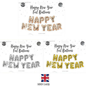 HAPPY NEW YEAR SELF INFLATING FOIL BALLOON Banner Bunting Eve Party Decor Xmas