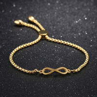 Infinity Adjustable Silver Yellow/Rose Gold GP Stainless Steel Bangle Bracelet