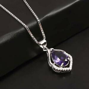 Amethyst Stone Chakra Necklace Quartz Crystal Healing Point Cut Pendant KS