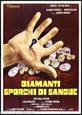 DIAMANTI SPORCHI DI SANGUE MANIFESTO THRILLER FERNANDO DI LEO 1977 POSTER 4F