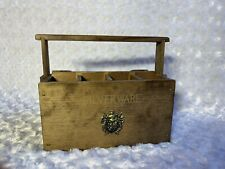1970s Gail Craft Wood Silverware Caddy With Crest