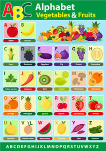fruits and vegetables alphabet Kids wall art Beautiful poster Choose your Size