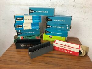 11 Vintage Projector Slide tray Holders in Boxes Boots Slide Magazine